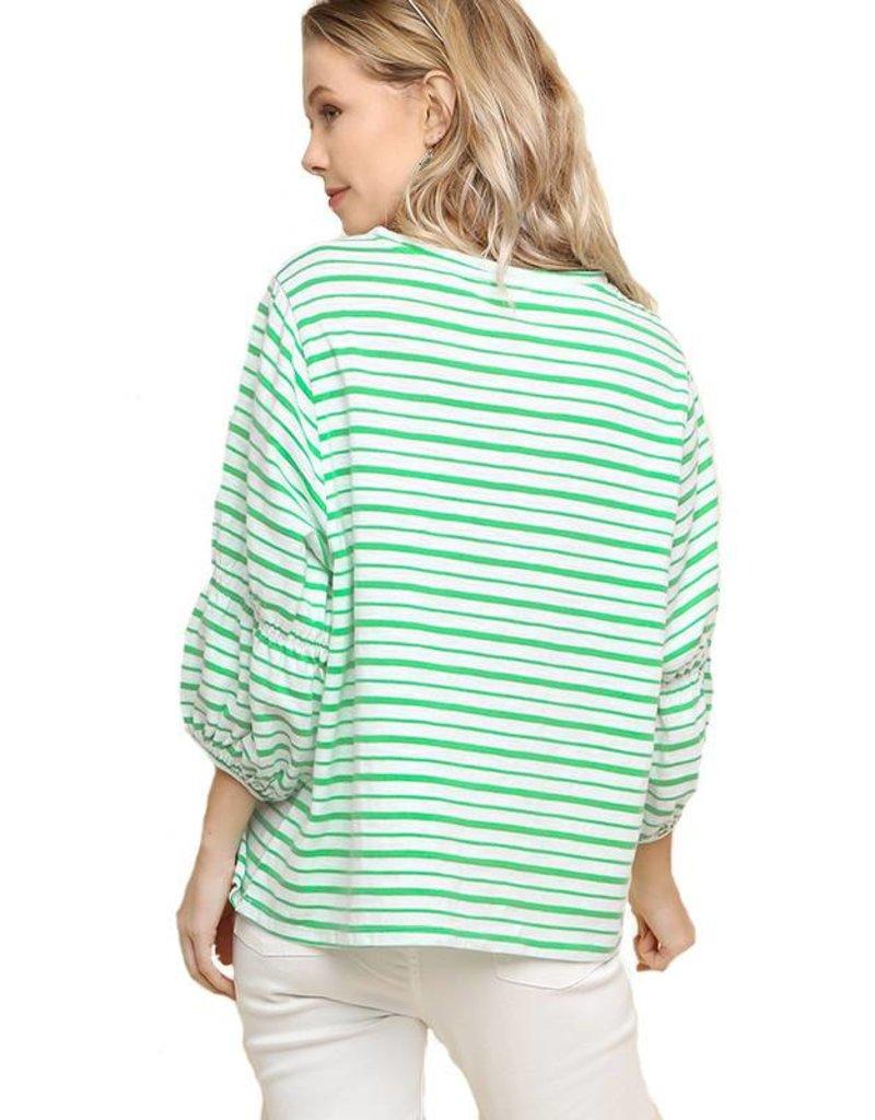Stripe Bishop Sleeve Top