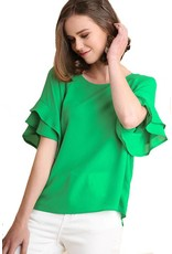 Layer Ruffle Sleeve Woven Top