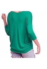 3/4 Sleeve Basic V-Neck Ribbed Top