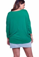 3/4 Sleeve Basic V-Neck Ribbed Top-Plus