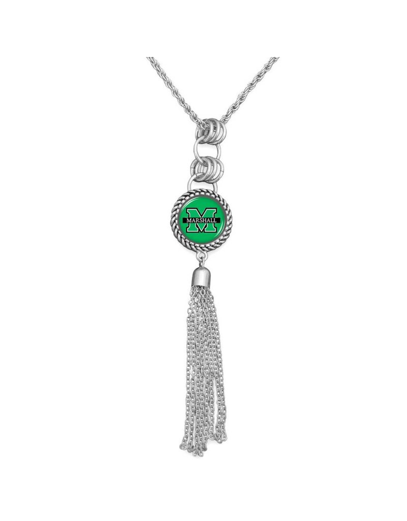 Marshall University Silver Tassel Necklace