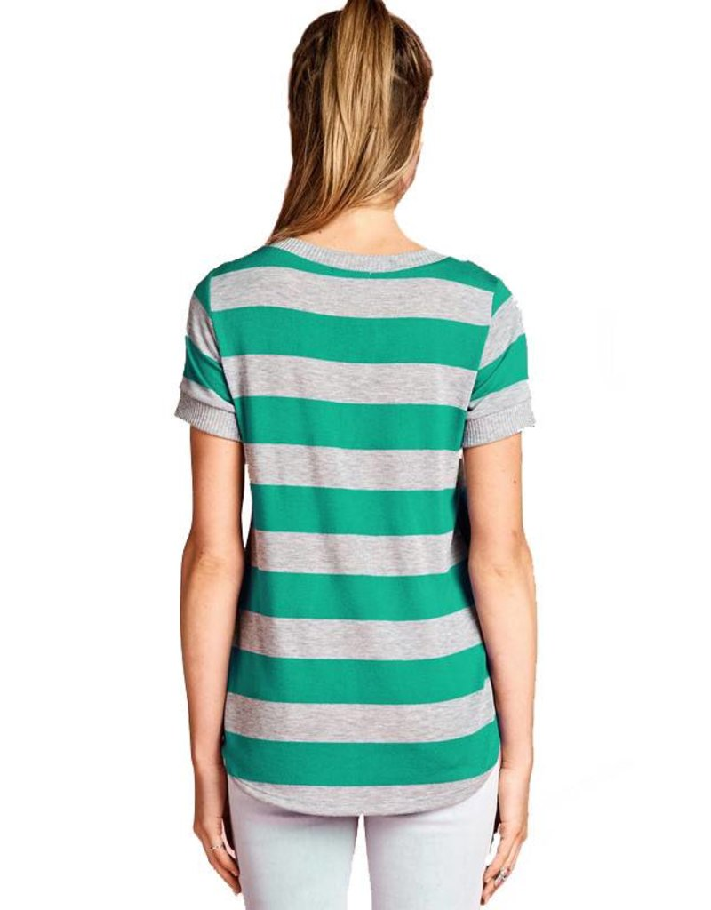 MIsses Rugby Stripe Sweater Tee