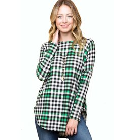 Block Plaid Long Sleeve Tee, Plus