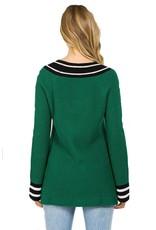 Varsity Stripe Oversize Ribbed Sweater