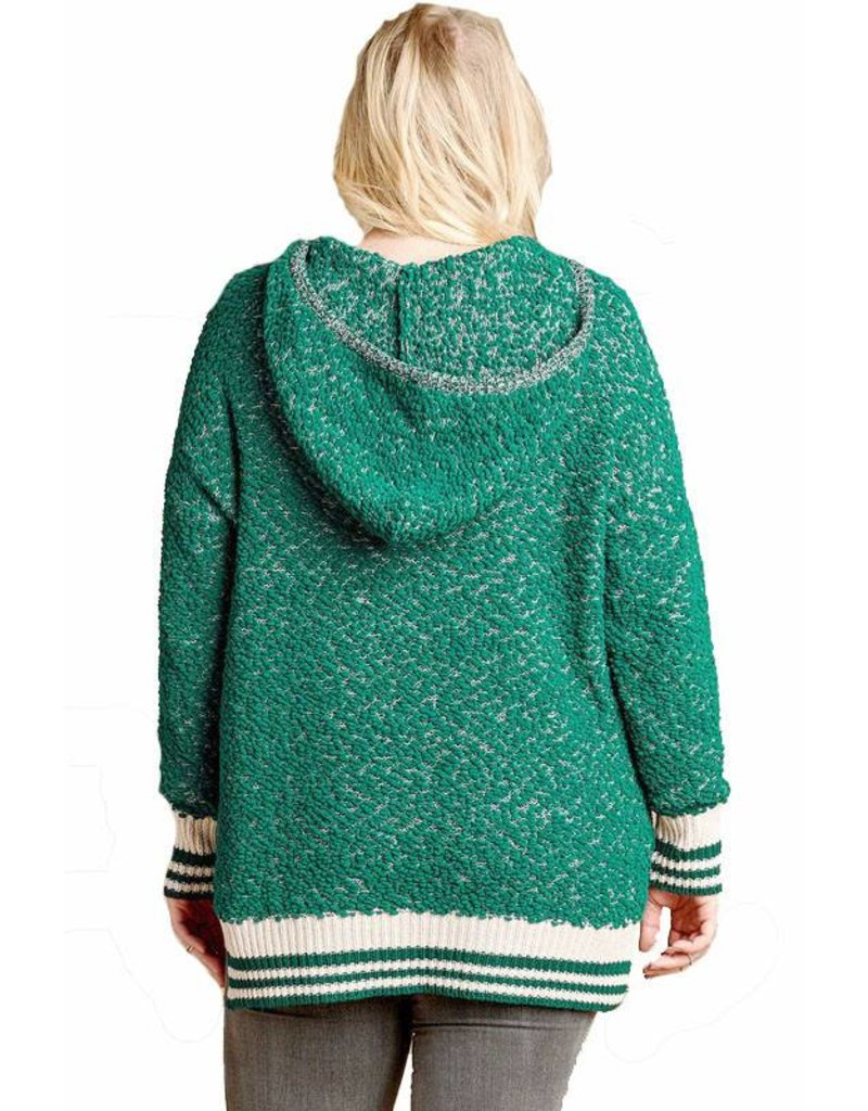 Two-Tone Knit Hoodie. Plus
