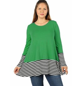 Stripe Hem Tunic-Plus
