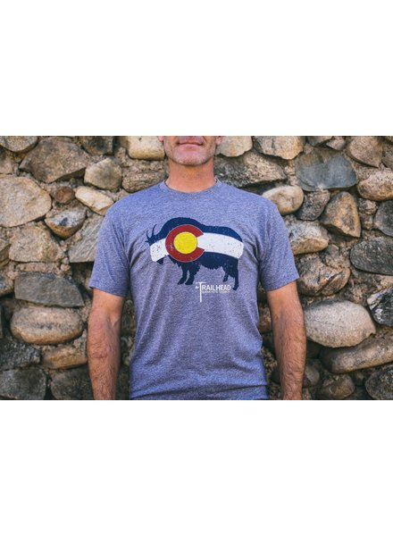 Souled Out Men's Trailhead Tri-Blend Crew Colorado Flag Goat Tee