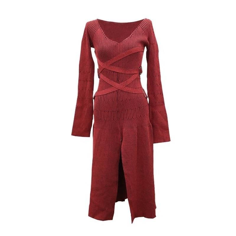 DESIGNER RED LONG SWEATER DRESS - OctoberTwelve