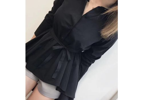 FORE4 BLACK SHIRT WITH DRAPE
