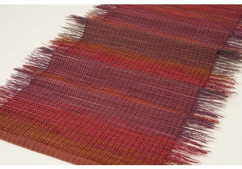 Weaving Raspberry Plum Table Runner, Broomcorn and Cotton Wrap (1)