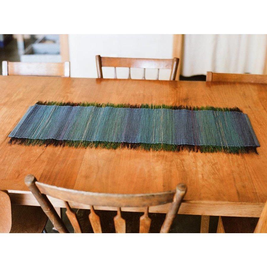 Blue/Green Broomcorn Table Runner
