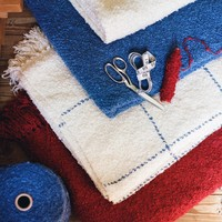 Cottage Throw Natural with Blue Grid (3 lbs)