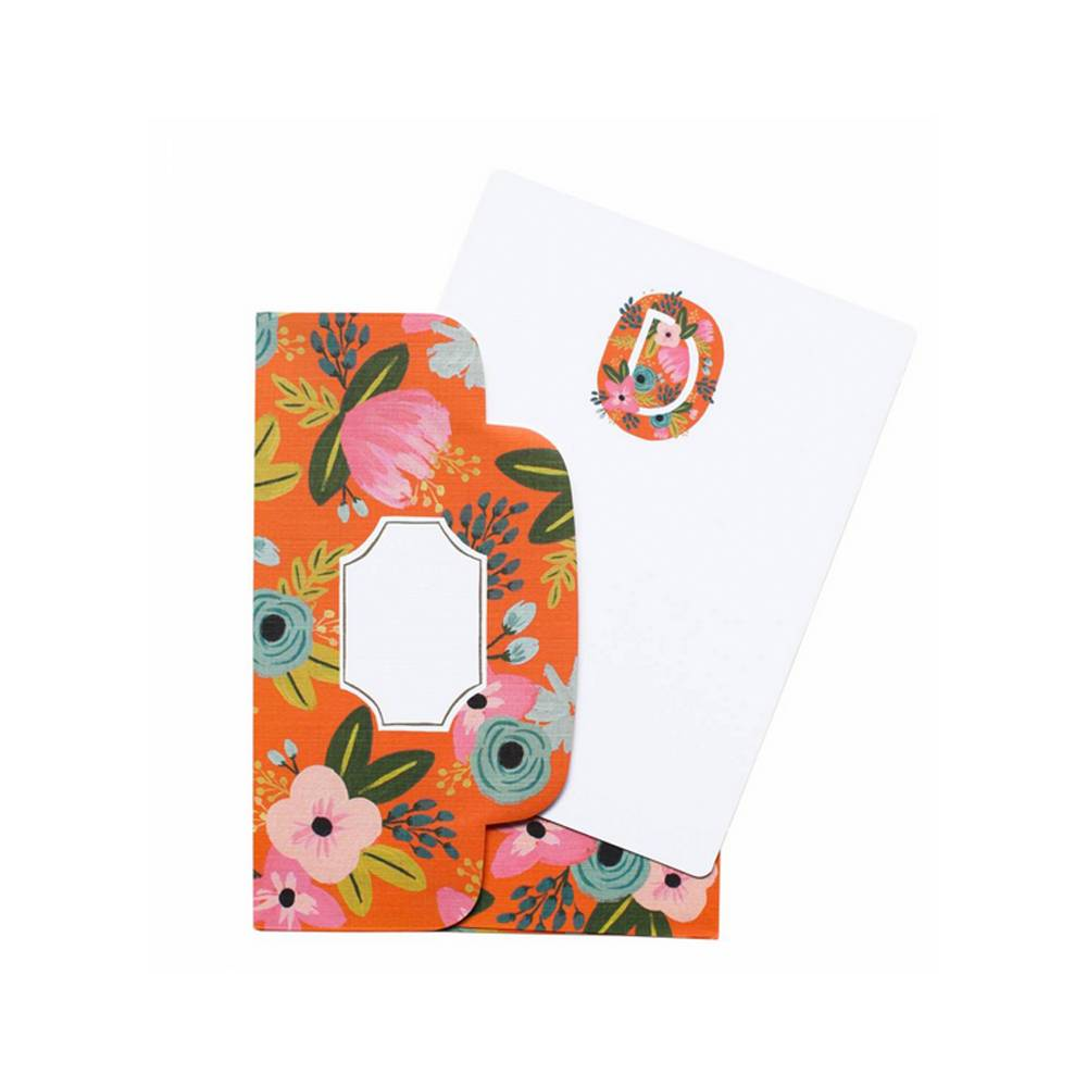 Boxed Set of Floral Monogram Fat Cards / Notes
