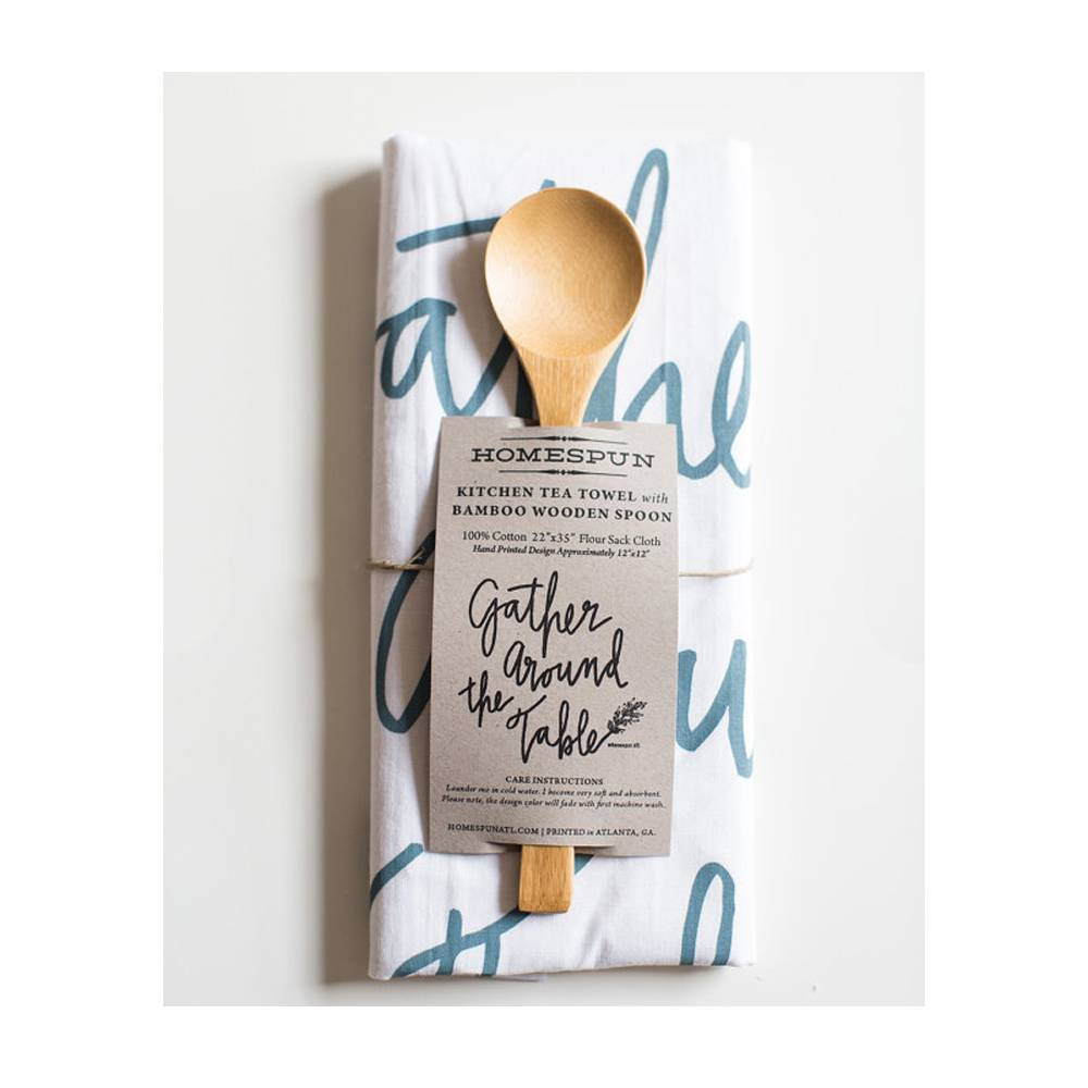 Kitchen Tea Towel with Bamboo Spoon ( Gather around the table )