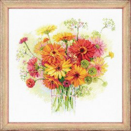 RIOLIS RIOLIS CROSS STITCH KIT - 1485 WATERCOLOUR GERBERAS