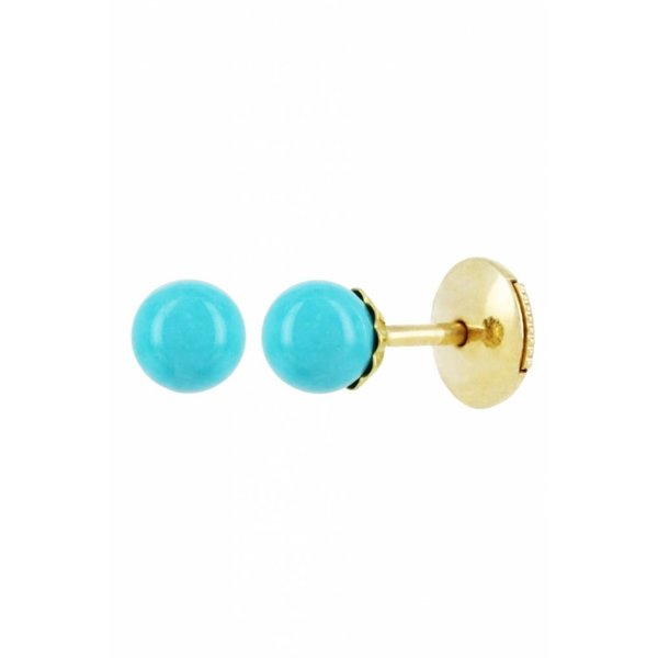 """Yvonne Leon """"Puce PM"""" Turquoise Stud Earring in 18kt Yellow Gold"""