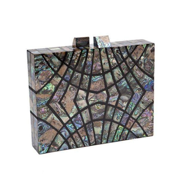 Nathalie Trad Ferris Clutch in Paua Blue Shell and Black Resin