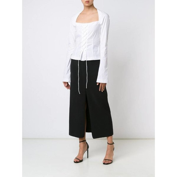 Tome Stretch Wool Crepe Slit Skirt