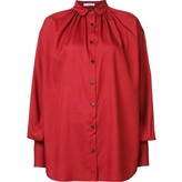 Tome Silk Poplin Oversized Gathered Shirt