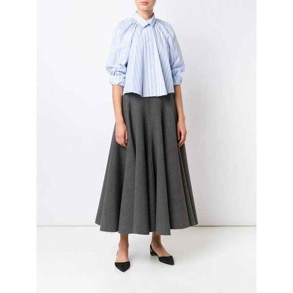 Tome Cropped Oversized Gathered Shirt (Striped Blue/White)