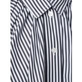 Cropped Oversized Gathered Shirt (Striped Black/White)