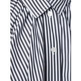 Tome Cropped Oversized Gathered Shirt (Striped Black/White)