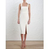 Zimmermann Stretch Crepe Buckle Dress in Pearl