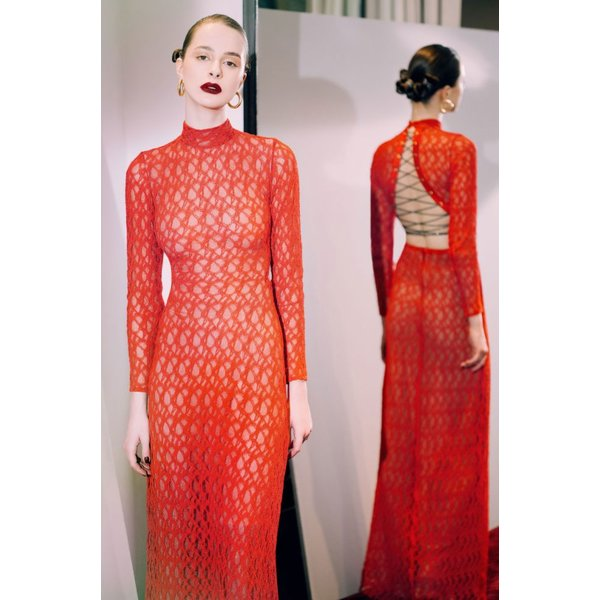 Sandra Mansour Long Red Lace Dress with Black Ribbon Detail
