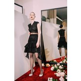 Sandra Mansour Short Black Lace Dress with Red Ribbon Detail