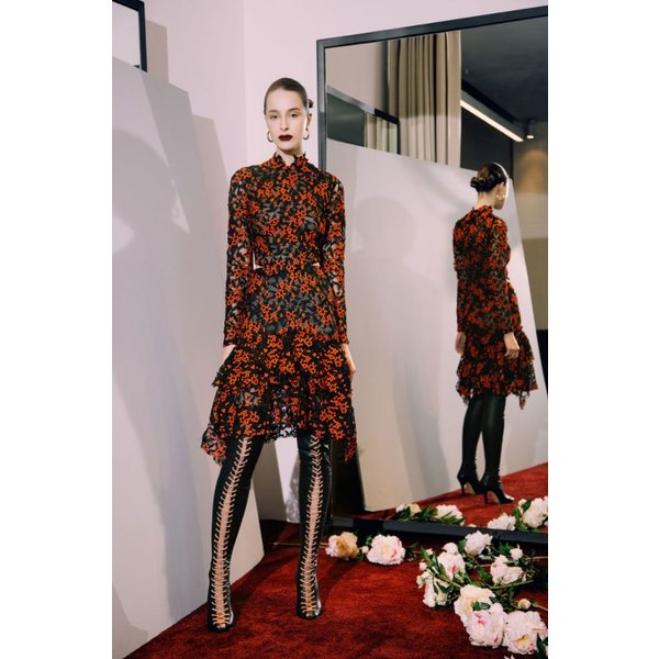 Sandra Mansour Short Red and Black Lace Guipure Dress