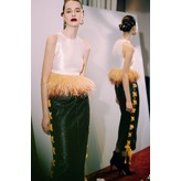 Sandra Mansour Mikado Top with Feather Detail