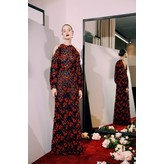 Sandra Mansour Long Red and Black Guipure Lace Dress