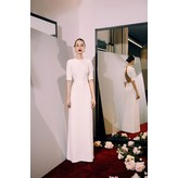 Sandra Mansour Crepe Long Dress with Ribbon Detail in White