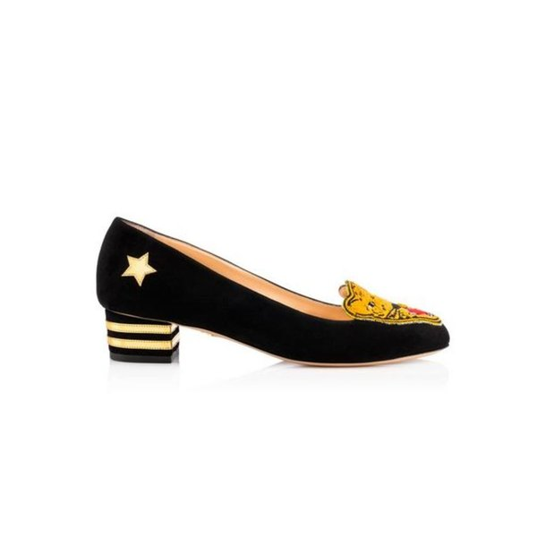 Charlotte Olympia Mascot Suede Loafers with Metallic Detail