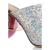 Charlotte Olympia Miss Universe Glitter Metallic Open-Toe Pump with Saturn Heel