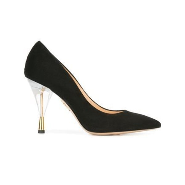 Charlotte Olympia Juliette Suede Pumps with Perspex Heel