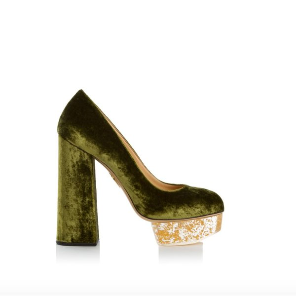 Charlotte Olympia Alix Velvet Pump with Perspex and Gold Flakes Heel