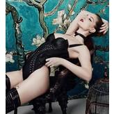 Bordelle Kinbaku Elastic & Neoprene Body with Front Woven Detail in Black