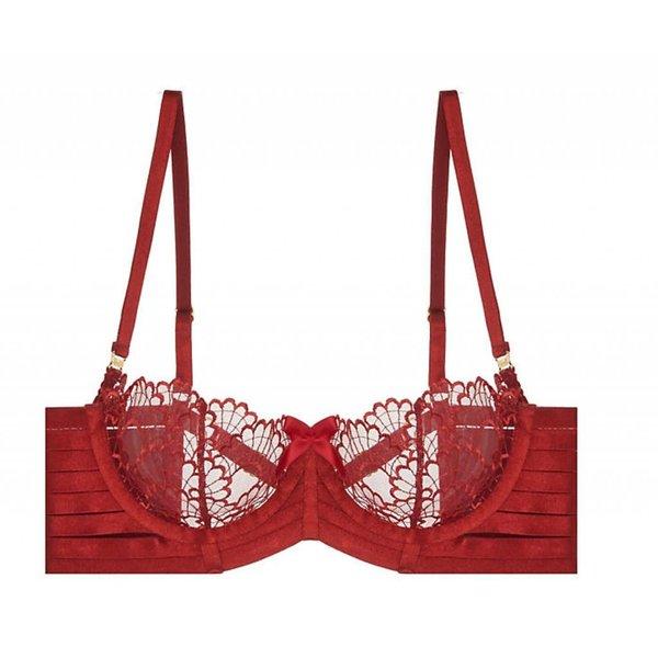 Bordelle Sensu Lace & Elastic Soft Balconette Wire Bra in Burnt Red