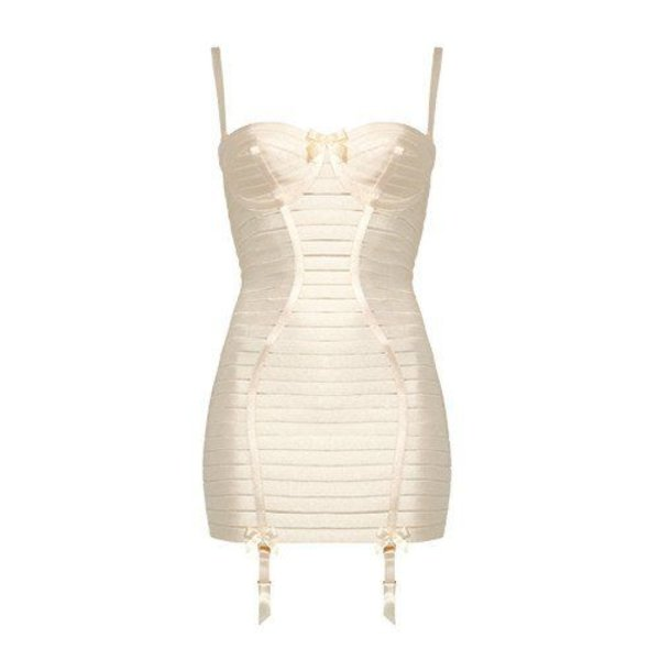 Bordelle Contour Angela Elastic Girdle Dress with Padded Cups and Removable Straps in Cream