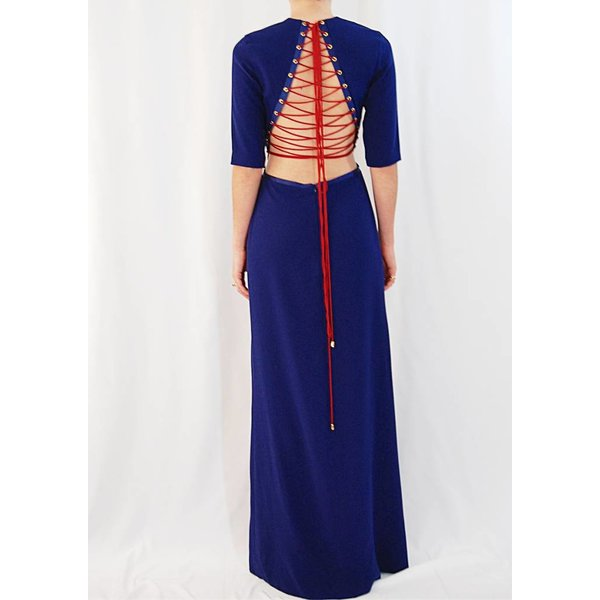 Sandra Mansour Crepe Long Dress with Ribbon Detail in Navy