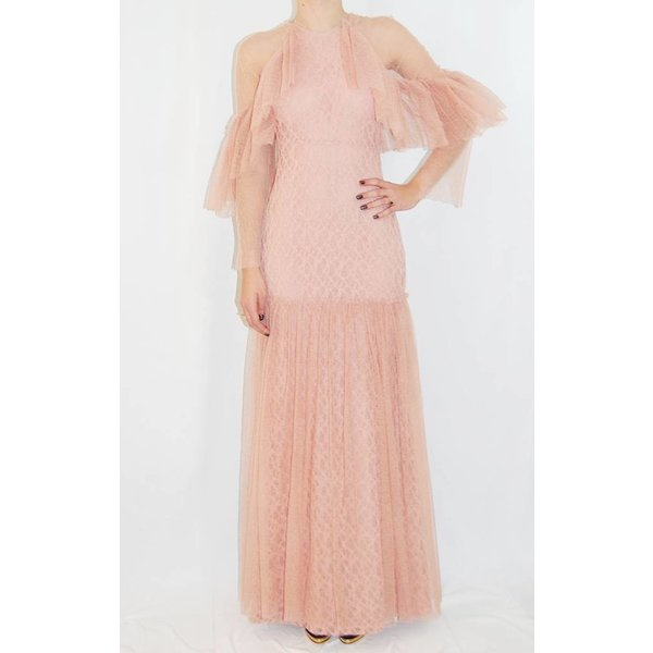 Sandra Mansour Long Lace Dress in Blush