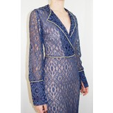 Sandra Mansour Long Navy Lace Dress with Gold Trim