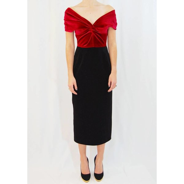 Emilio De La Morena Poppy Long Pencil Dress with Knotted Detail in Wine and Black