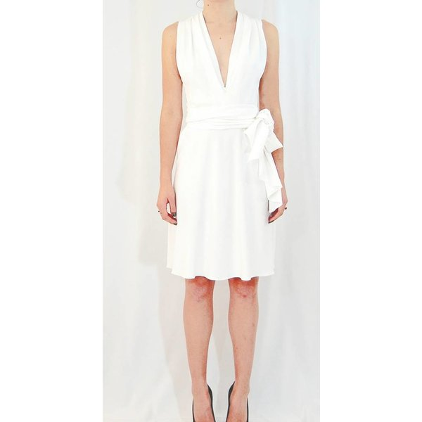 Tome Stretch Crepe Sleeveless Gathered Ivory Dress