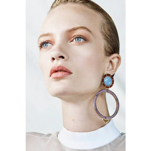 Monica Sordo Yma Earrings in Red and Pink