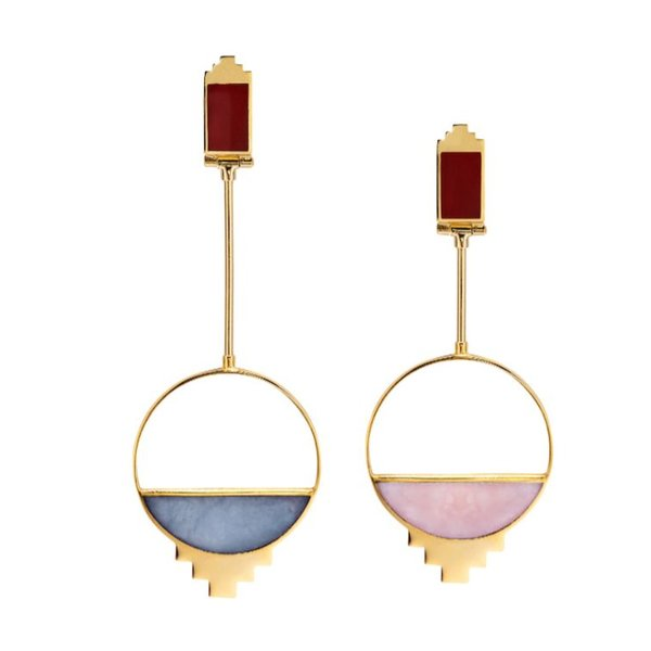 Monica Sordo Callao Baby Earrings in Blue and Pink