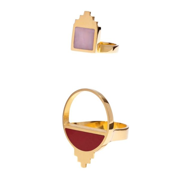 Monica Sordo Callao Ring Set in Red and Pink
