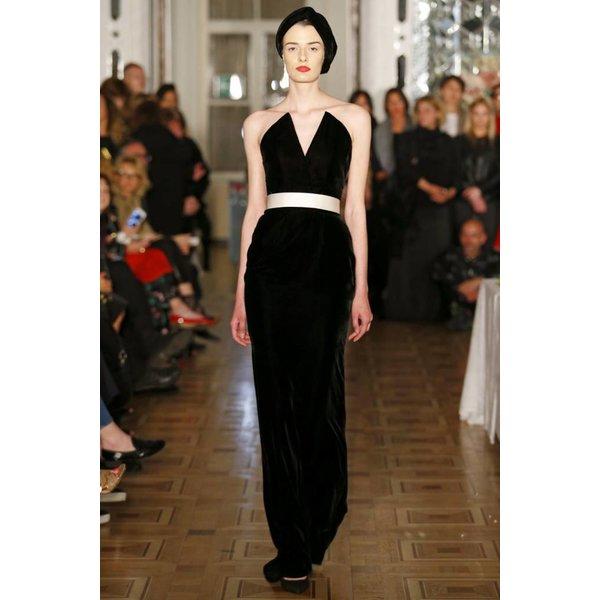 Djaba Diassamidze Irina Alexandrova Black Fourreau Gown with Bow Belt