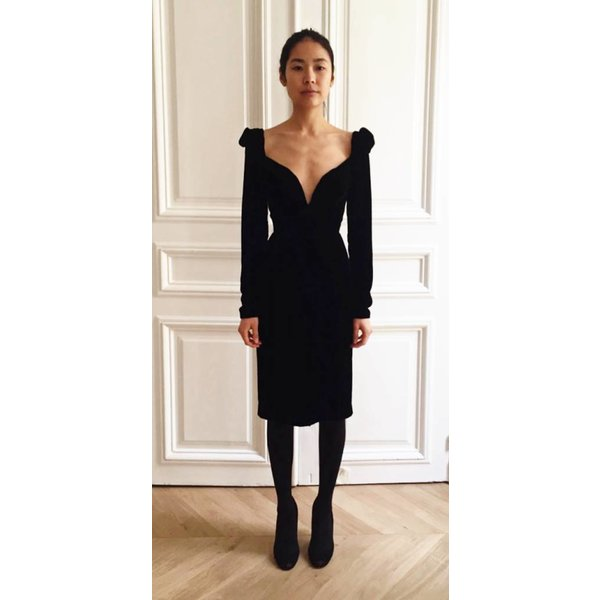 Djaba Diassamidze Catherine Black Velvet Short Dress